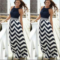 Women Summer Striped Boho Evening Party Long Maxi Beach Dress Chiffon Dresses