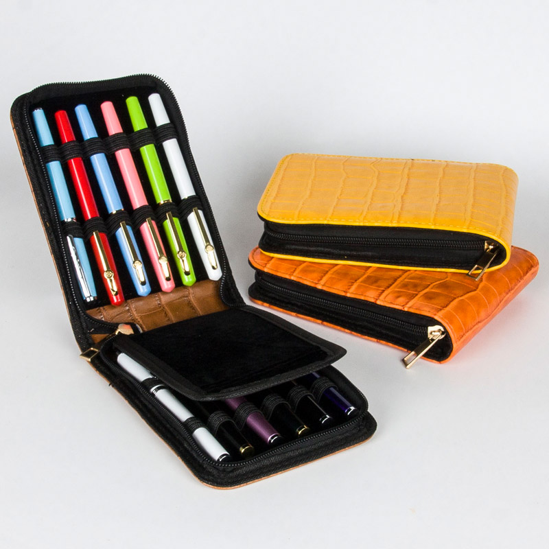 High Quality Top Great Black Brown Leather Pencil Case For 12 Fountain Or Roller Ball Pen Case
