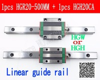 New linear guide rail HGR20 500mm long with 1pc linear block carriage HGH20CA HGH20 HGW20CC CNC parts linear guide rail guide rail linear guide -