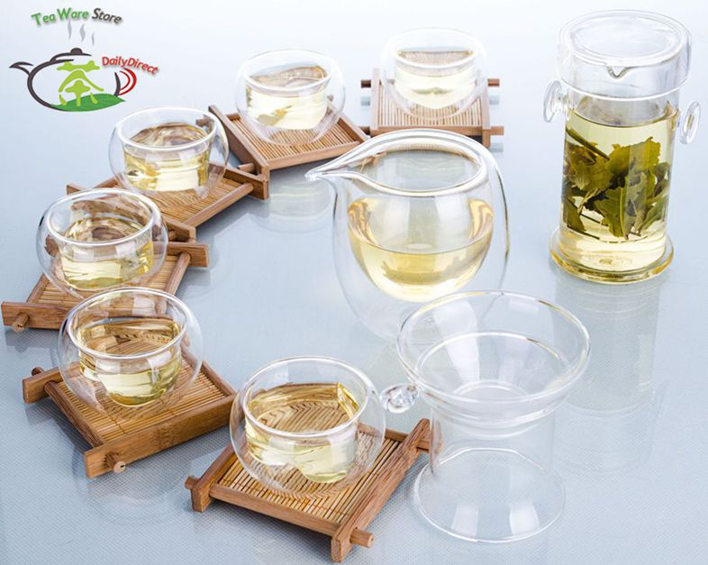 1x Kung fu Coffee Tea Set Glass Double Ear Handles Tea Pot + Strainer + Tea Pitcher / Chahai +6 Heart Double Wall Mug Cups