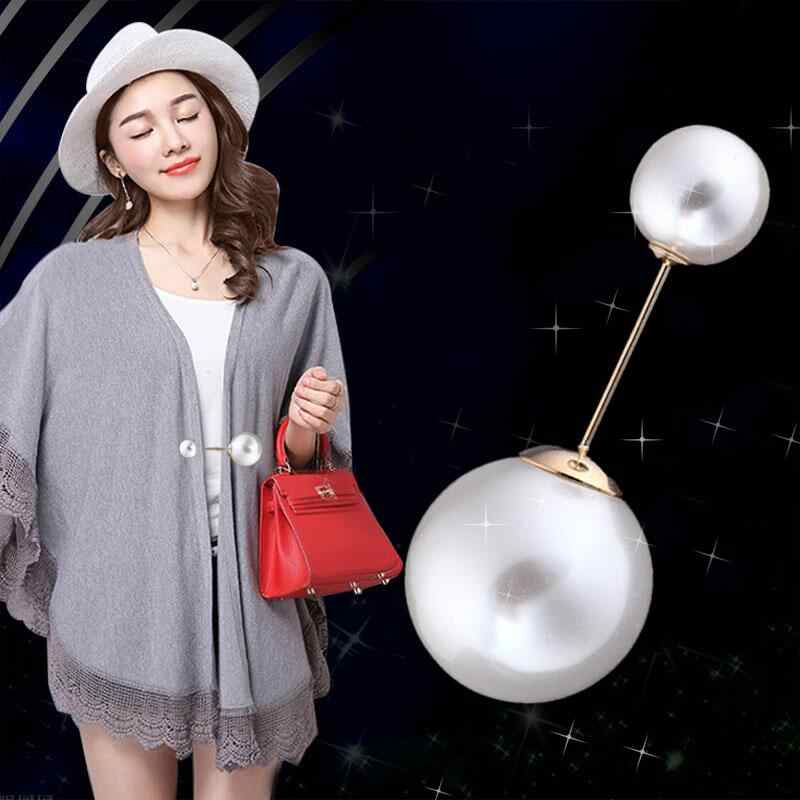 Fashion 1Pc Vintage Golden/Silvery Needle High Quality Double Head Pearl Brooches Hot-selling Sweater Scarf Graceful Brooch
