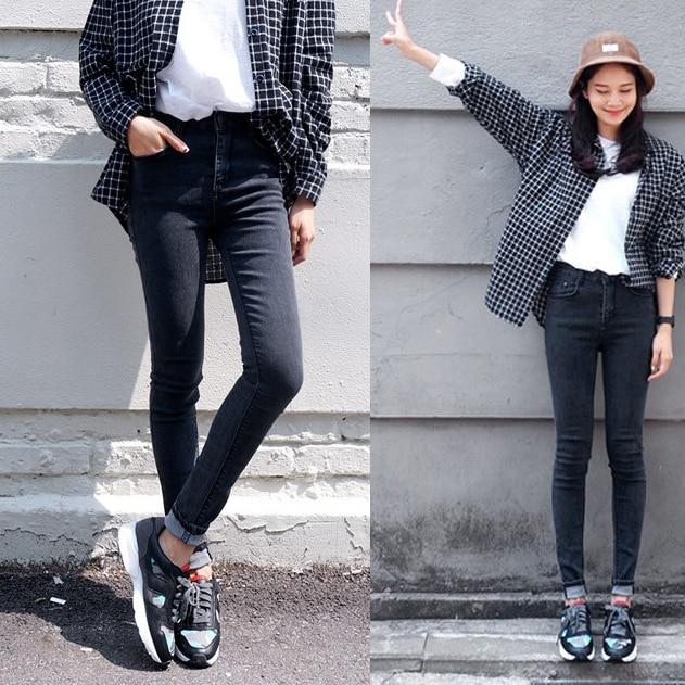 4ba38ff75ed 2015 Autumn Fashion Women High Waist Jeans Casual Denim Skinny Plus Size  Pencil Pants Capris Flare Leg Ripped Black Skinny Jeans