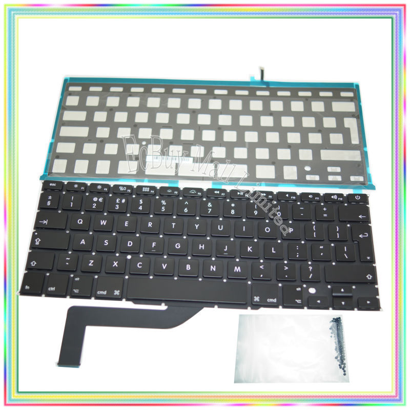 Brand new UK Keyboard with Backlight & keyboard screws for Macbook Retina 15.4