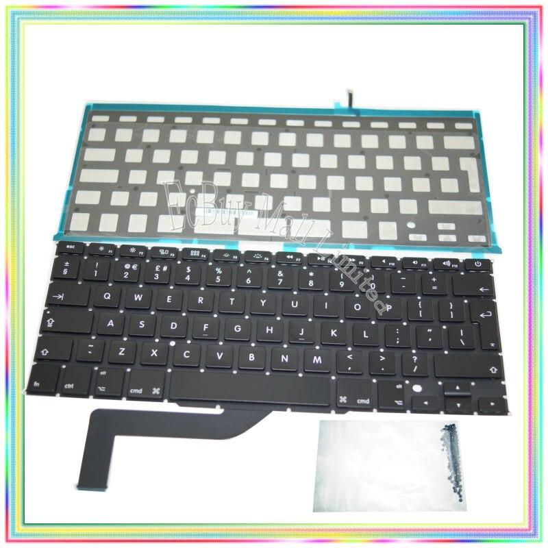 Brand new UK Keyboard with Backlight & keyboard screws for Macbook Retina 15.4