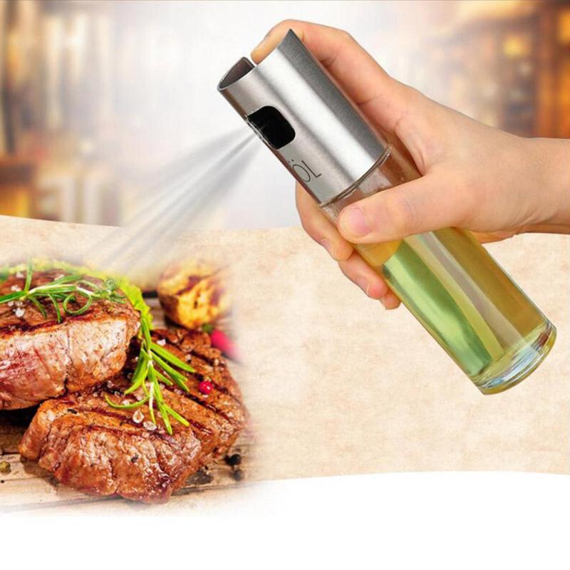 De acero inoxidable botella de Spray de aceite barbacoa agua Vinagre del rociador del inyector de combustible de vidrio olla para herramientas de cocina Accesorios