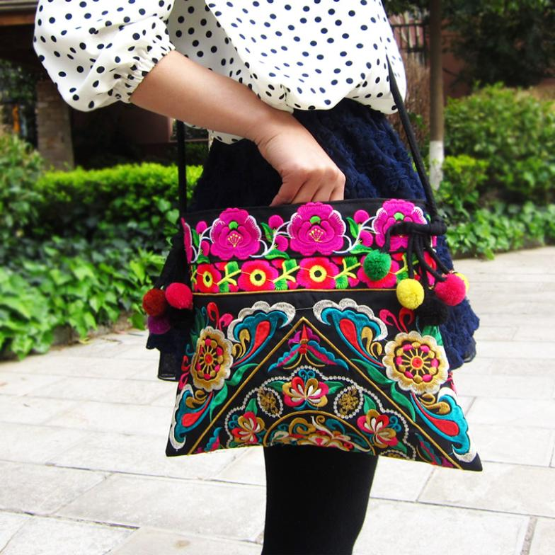 National Chinese Style Canvas Embroidery Bags Double Side Embroidered Shoulder Messenger Bag Unique Women's Small Square Handbag national trend women handmade faced flower embroidered canvas embroidery ethnic bags handbag wml99