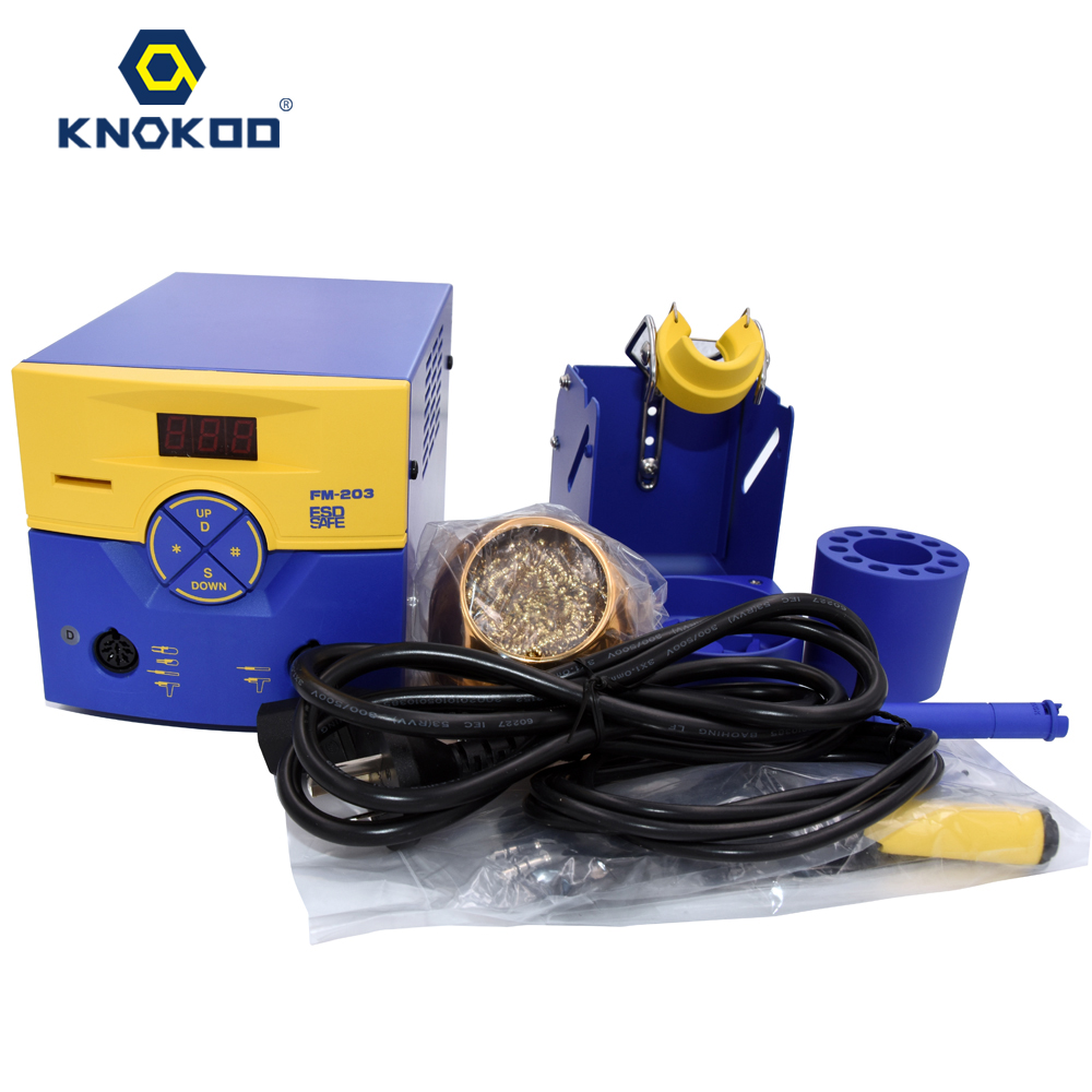 110/220V FM203 ESD-Safe Dual Port Soldering Station Machine with FM2027 Soldering Iron and T15 Series soldering tip hakko fx 888d safe soldering station soldering iron esd safe 220v