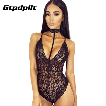 Sexy Halter lace bodysuit Women elegant Skinny 2017 hollow out black Grey jumpsuit romper body feminino overalls mesh playsuit