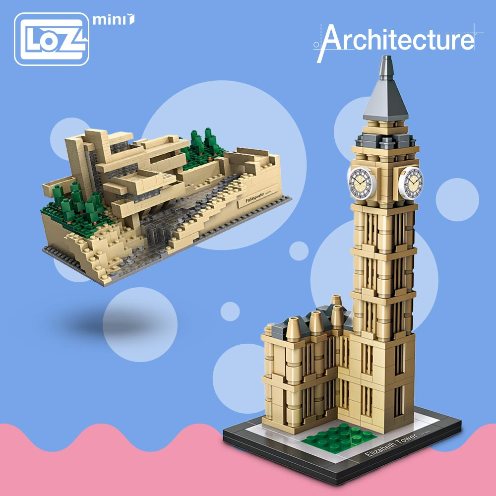 LOZ Mini Blocks Architecture Model Kits Diy Building Blocks Toys World Famous Architectures Villa Model Blocks Enlighten Brick