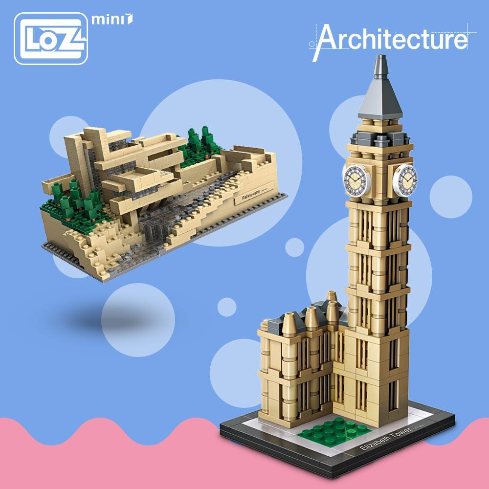 LOZ Mini Blocks Architecture Model Kits Diy Building Blocks Toys World Famous Architectures Villa Model Blocks Enlighten Brick