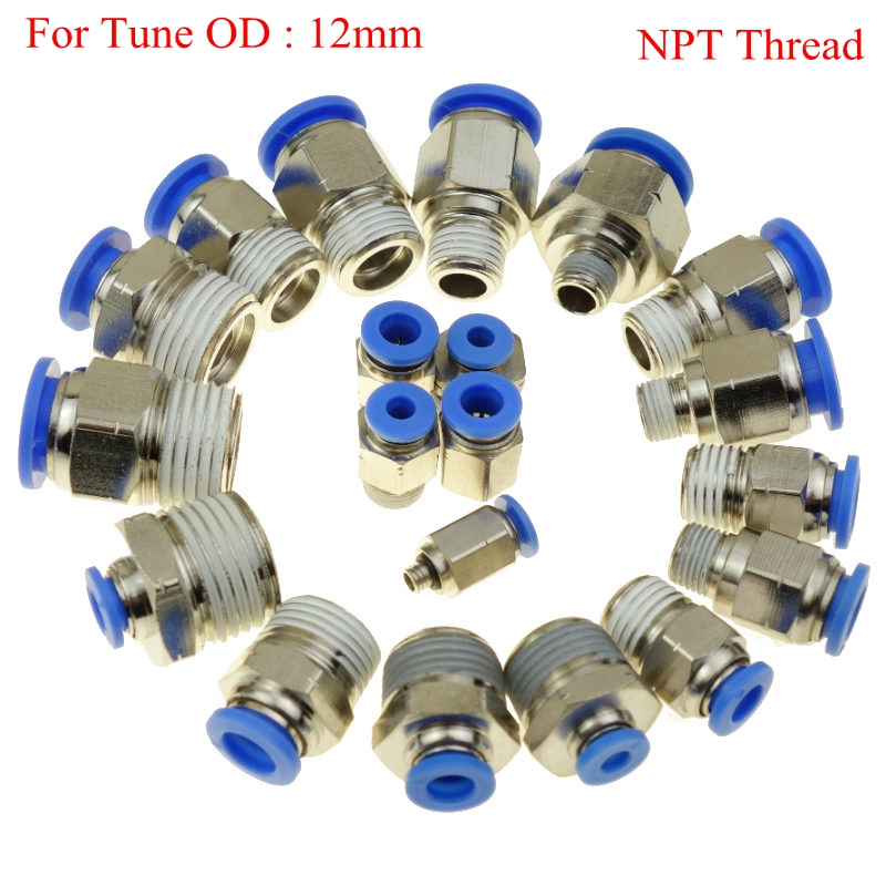 <font><b>5</b></font> Pcs Pneumatic Push In Air Fitting Straight Male Connector For Tube OD <font><b>12</b></font> mm <font><b>x</b></font> <font><b>1</b></font>/8