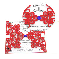 20Pcs Wedding Party Invitation Card Delicate Carved Flowers Pattern Romantic Envelope Elegant Design 150x150mm Party Supply