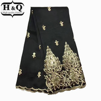 Black Fashion design George lace fabric embroidered with sequins fabric African Lace Fabric silk for dress Free shipping