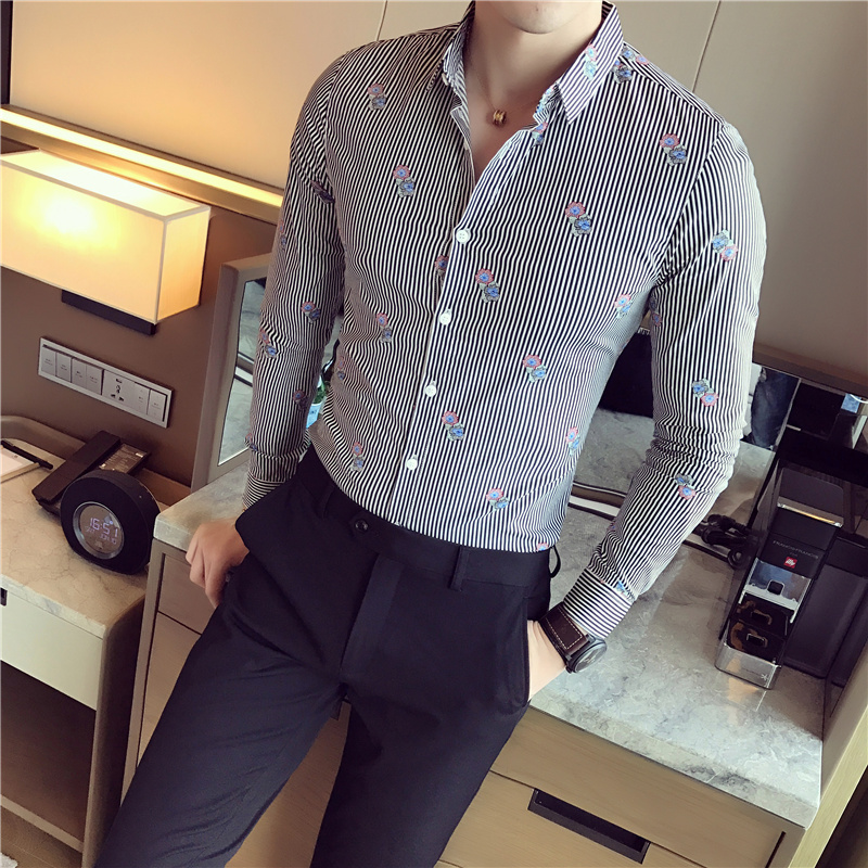 Hot Sale Men Casual Shirt Fashion Striped Print Mens Social Shirts Long Sleeve Single Breasted Turn Down Collar Work Shirts Male