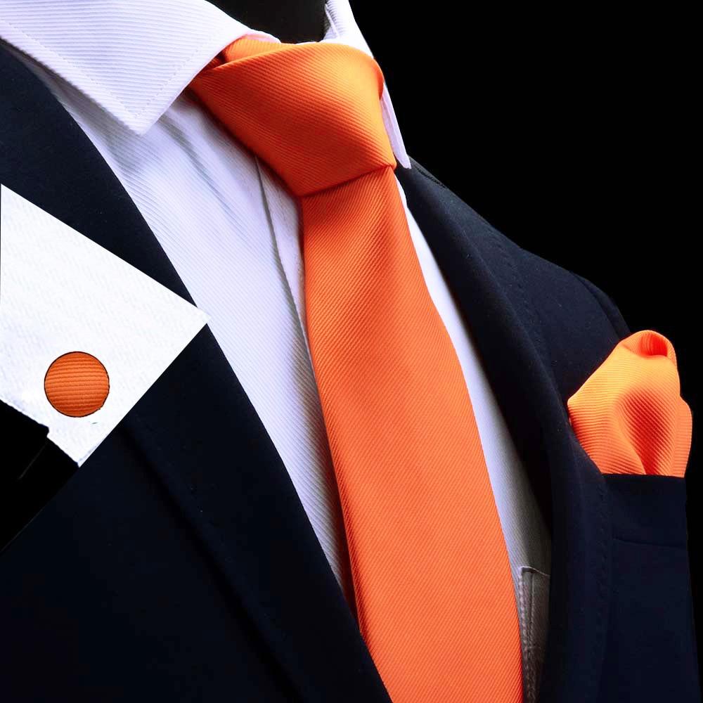 Ricnais Silk Solid Men's Tie Set 8cm Ties Handkerchief Cufflinks Sets For Man Red Gold Purple Necktie For Men Wedding Gift