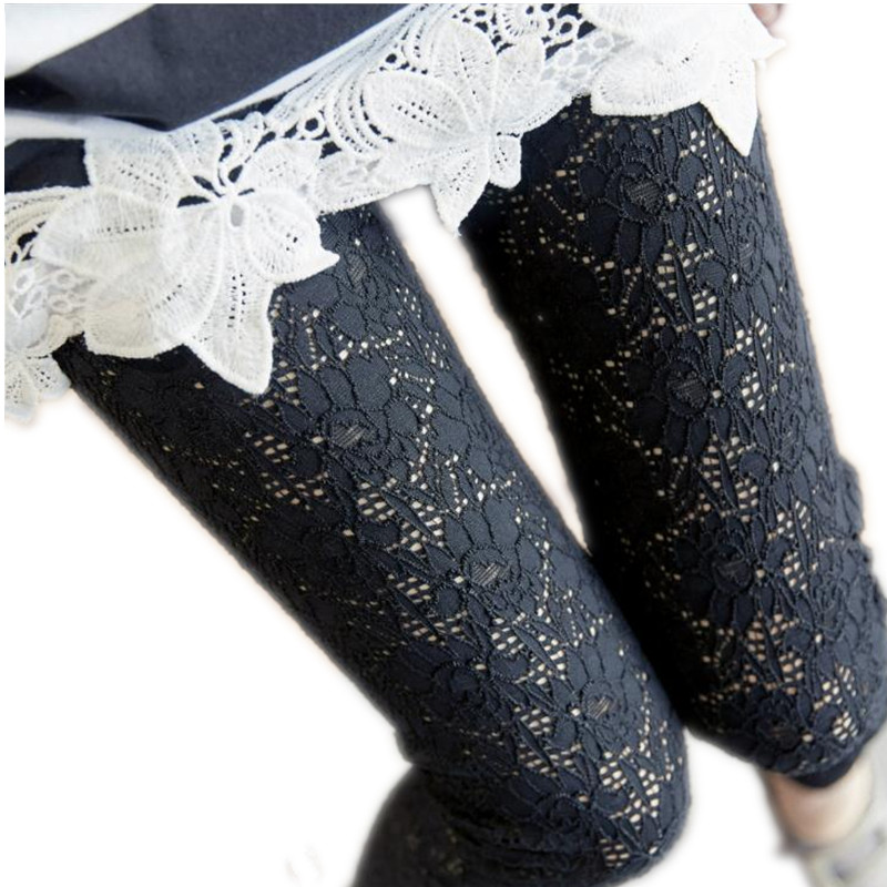High Waist Sexy Women Spring Summer 2019 Lace Hollow Out Ankle-Length Leggings Female Thin New Elastic Lace Slim Leggings CQ1483