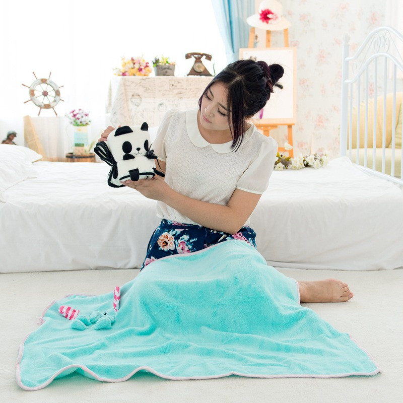 100cmx80cm Cute Cartoon Animal Blanket Coral Fleece Blanket Throw on Sofa Bed Plane Car Travel Solid Manta Fleece Blanket