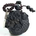 Lotus The Carp Ebony Safe Trip Wherever You Go Car/Bag/Purse Key Ring Pendant Keychain Amulet Pendant All The Best