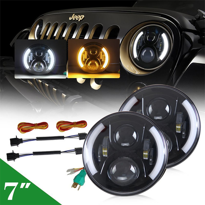 7INCH Round LED Projection Headlight H4 H13 with Amber turn signal DRL Angel Eyes for Offroad Jeep Wrangler JK Hummer Harley