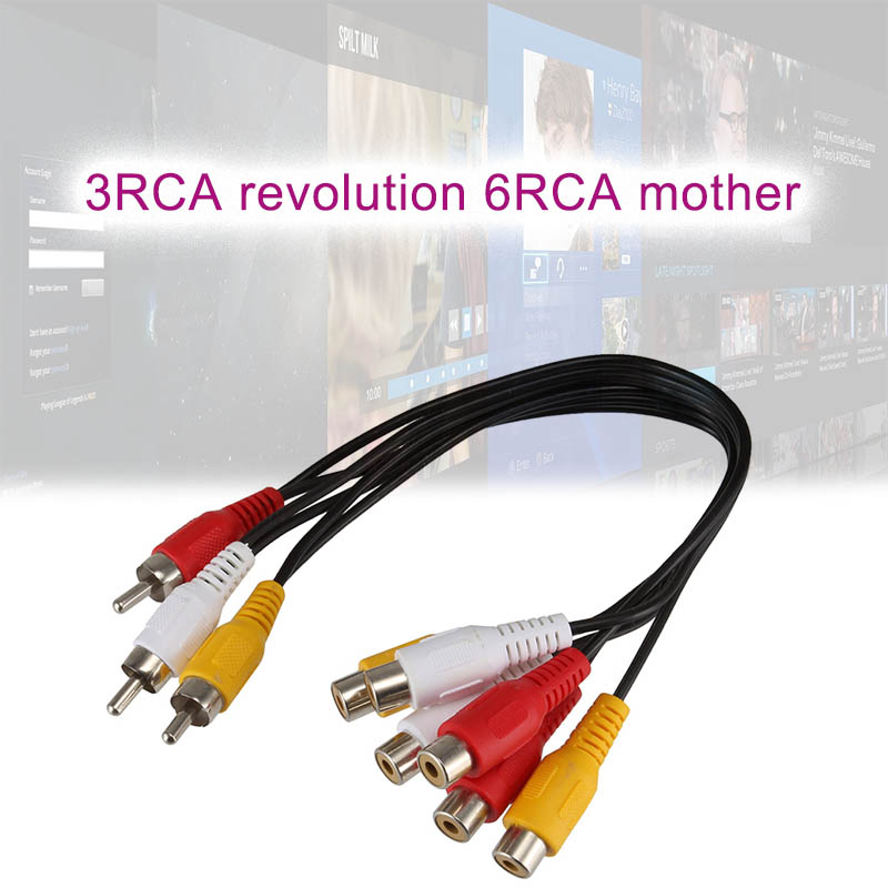 2019 Newly 3RCA Male to 6RCA Female Cable Adapter Plug Splitter for AV Audio Video LCD TV HDTV  NK-Shopping