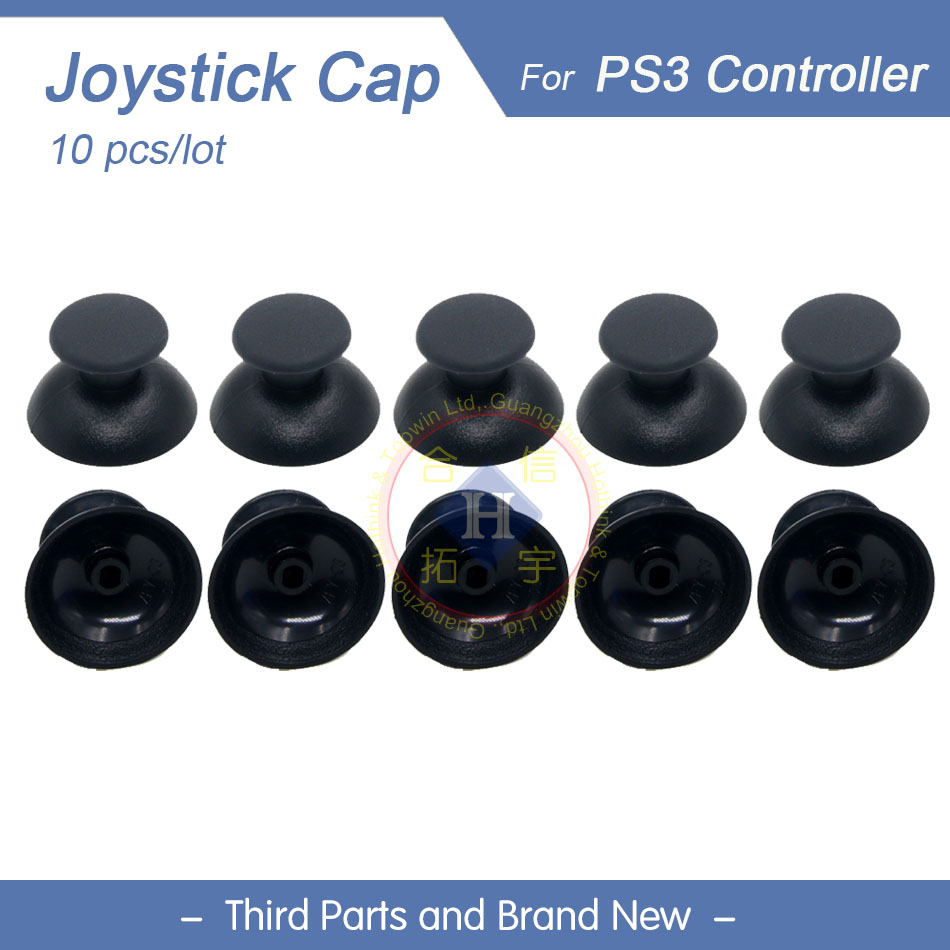 10pcs/lot New Replacement Black Analog Cap Thumb Grips Thumbstick Cover Case For PS3 Controllers