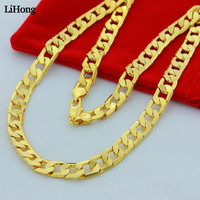 Hip Hop Men's Necklace 10mm Chain Fashion 24k Gold Color Filled Curb Cuba Long Necklace Chain Charm Unisex Jewelry