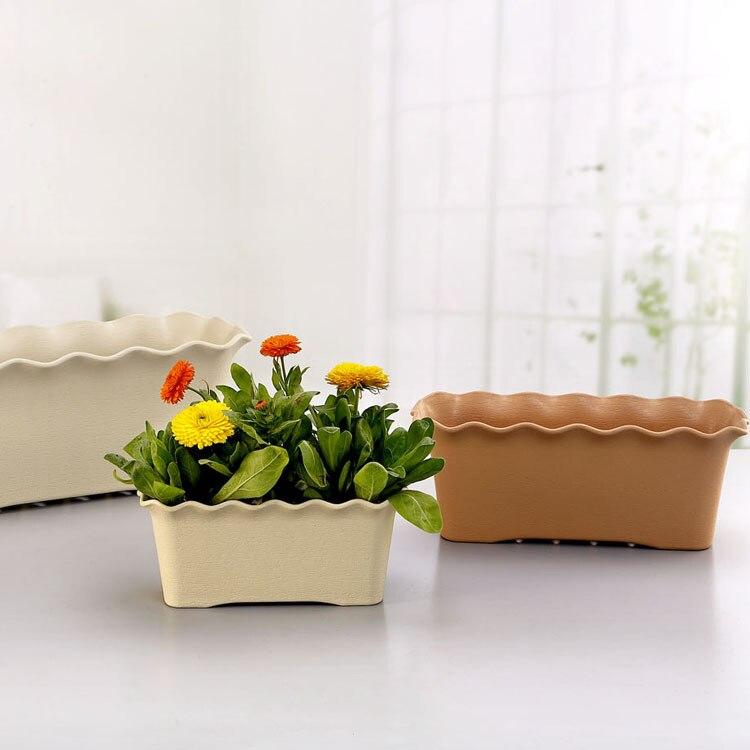 Image 2 - Rectangular Plastic Flower Pot Wave Ruffled Flower Durable Trough Holder Hanging Basket Office Home Garden Balcony Decoration-in Flower Pots & Planters from Home & Garden