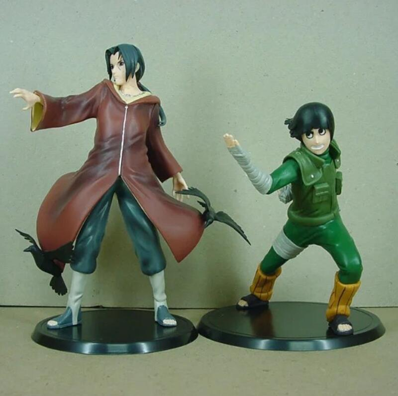 Naruto Rock Lee & Uchiha Itachi 2pcs/set Brinquedos Anime PVC Action Figure Collectible Model Toy KT3407 anime naruto shippuden uchiha itachi brinquedos pvc action figure toys collectible model doll juguetes kids toys 23cm
