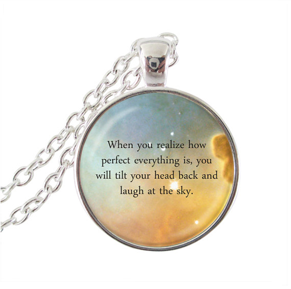 Long silver chain necklace space jewelry quote pendant letter neckless glass cabochon nebula necklace for women jewelry gifts