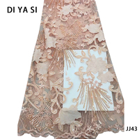 High quality french lace fabric tulle net lace fabric bridal party dress embroidery voile lace fabric with stones