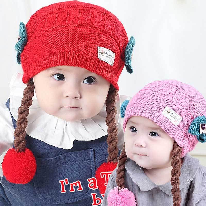 Cute Baby Wig Hats Bow-knot Children's Knitted Braids Hat For 3 to 18 Months Baby Girls Infant Caps Winter Autumn Head Supplies серьги
