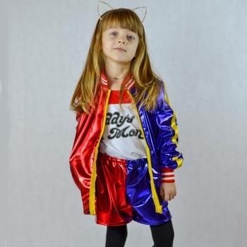 Harley Quinn Costume Cosplay Suicide Squad Harley Quinn Costume Bambini Di Natale Anno Nuovo Partito Costumi di Halloween per le Ragazze Set