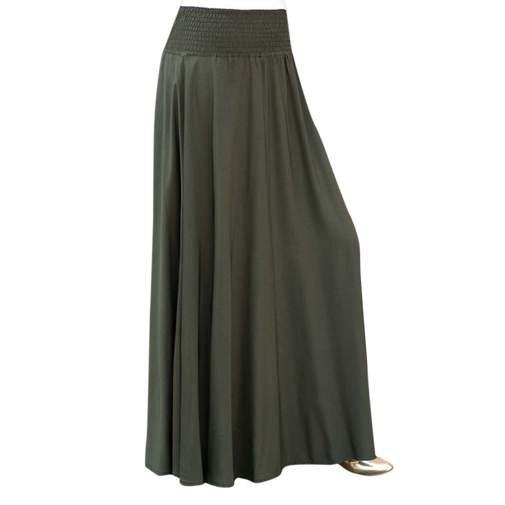 Solid Color Green Black Flare Summer Ladies Women Fashion Elastic Waist Pleat Skirt Vintage A-line Loose Long Skirts Maxi Skirt