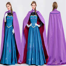 Frozen Anna Princess Elsa queen Adult Halloween costume princess long dress with cloak role playing cosplay JQ-1025