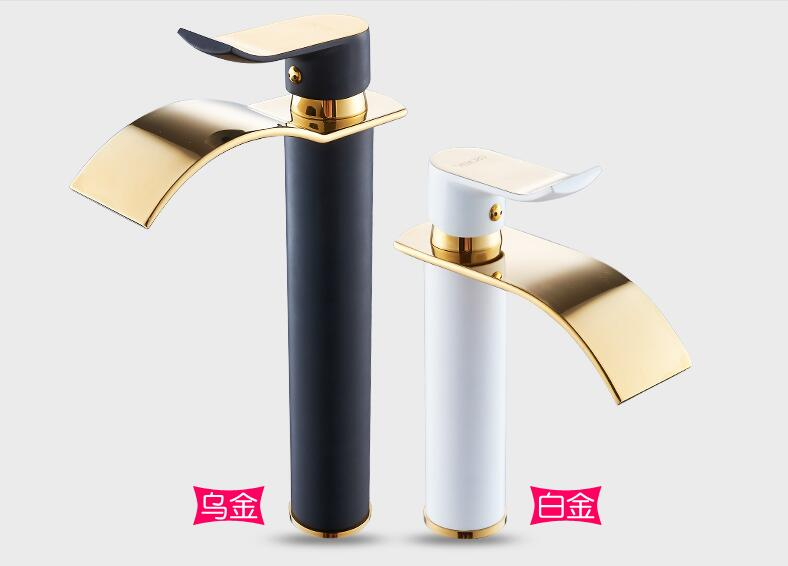HTB1KLCobH1YBuNjSszhq6AUsFXal Basin Faucet Gold and white Waterfall Faucet Brass Bathroom Faucet Bathroom Basin Faucet Mixer Tap Hot and Cold Sink faucet