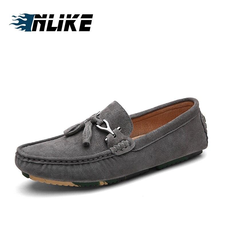 Bateau Véritable De Chaussures Des En Noir Mode Conduite Sur Glissement La Mocassins Inlike kaki gris Cuir Mocassin Casual Hommes fqpx6dwOd