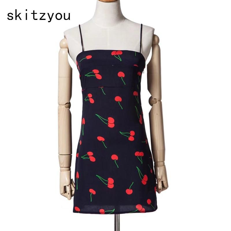 skitzyou 2018 Summer Fashion Female Vintage Dress Sleeveless Spaghetti Strap Cherry Pint Women Elegant Slim Mini Party Dresses