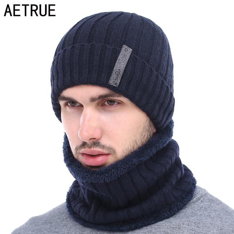 ab977172135f6 AETRUE marca Skullies gorros hombres invierno bufanda sombrero hecho punto invierno  sombreros para hombres Gorras gorro de lana máscara Beanie casquillo del ...