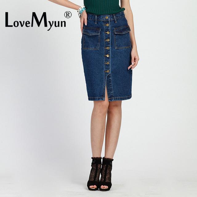Lápis Botão Saia jeans Feminino 2016 Primavera Verão Mulheres Saias Longas Jeans da American Apparel Saia Longa