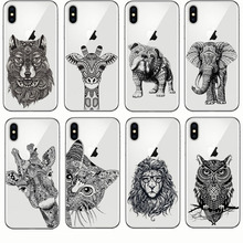 Newest Totem Animal Elephant Owl Giraffe Cat Pattern Design Soft Silicone Phone Cases Cover for Iphone 7 6 8 Plus 5 5S SE X 6S