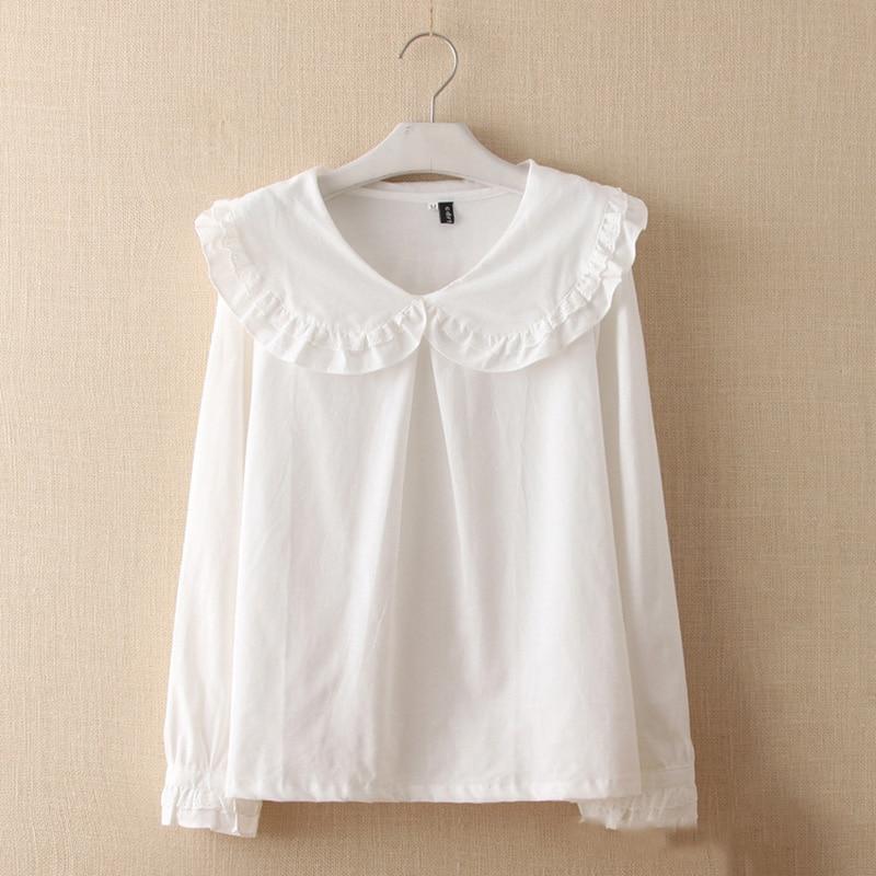 Spring summer fashion women cotton blouse ruffles shirt for Long sleeved casual shirts