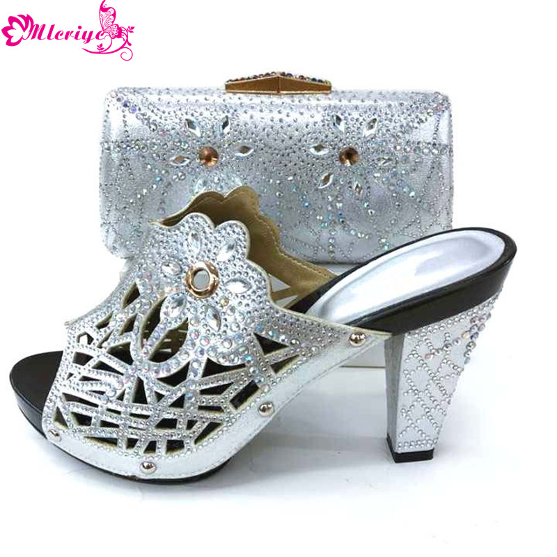 2019 Elegant Rhinestone Shoes And Bag Set African Fashion Woman Pumps Shoes And Bag Set For Party Free Shipping SILVER SHOES new african fashion ladies shoes and bag set summer style woman high heels shoes and bag set for party free shipping bl515c