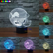 NFL Detroit Lions 3D Night Light 1 Set Free Shipping 7 Colors Change LED Table Lamp Xmas Gift Creative Night Lamp