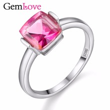 Gemlove Gemstones Ring with Natural Stones 2ct Pink Topaz 925 Sterling Silver Rings for Women Girls Wedding Jewelry 40%off FJ046