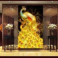 New Diamond Mosaic Full Diamond Embroidery Beads Black Gold Fortune Peacock Bird Diamonds Cross Stitch Painting