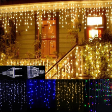 Led Curtain Icicle String Lights Outdoor Christmas Thanksgiving Decor 4M Droop 0.3-0.5M Garden Party Fairy Light With Tail Plug