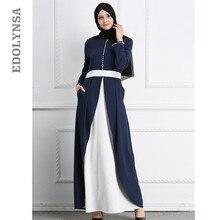 a8c8a41728 2019 modesto de moda de las mujeres musulmanas azul oscuro de Split cordón  vestido Dubai Saudi Arabia ropa de algodón turco Abay.