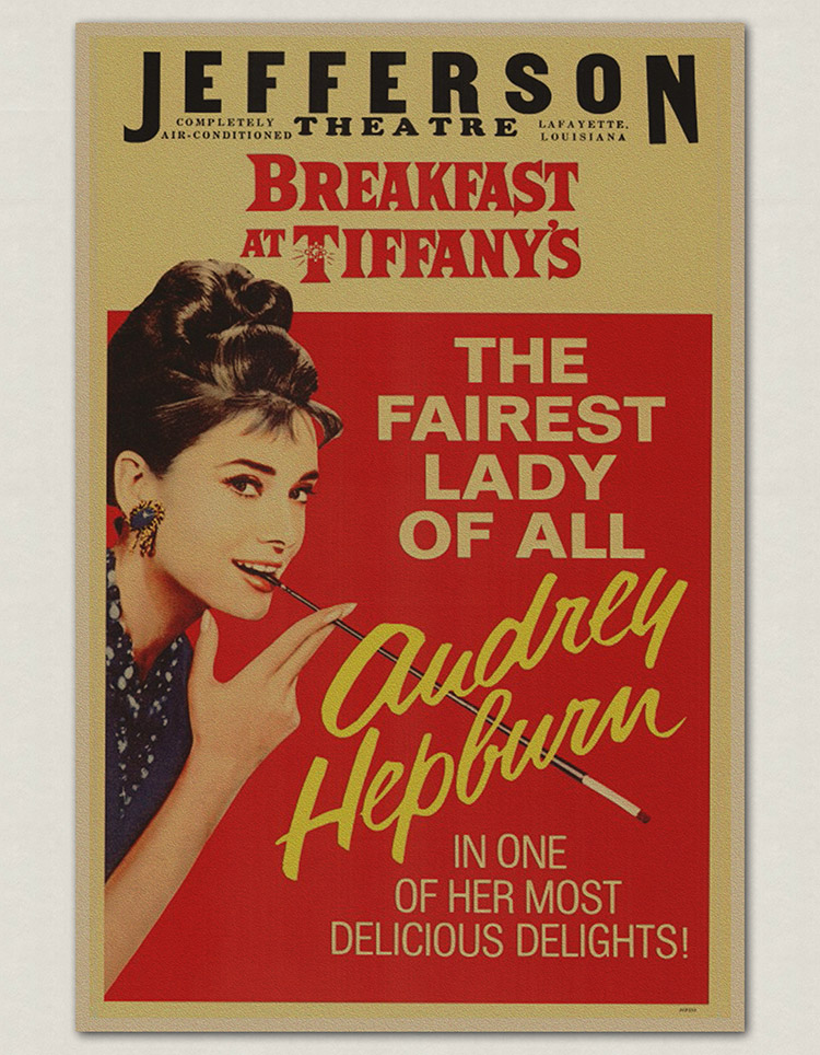 vintage movie posters audrey hepburn old painting classic retro paper stickers living room wall. Black Bedroom Furniture Sets. Home Design Ideas