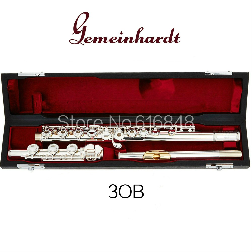 Gemeinhardt 3OB / GLP Gold Lip Open Hole 17 Keys Flute Silver Plated Surface C Tune Flute Brand Musical Instrument With Case