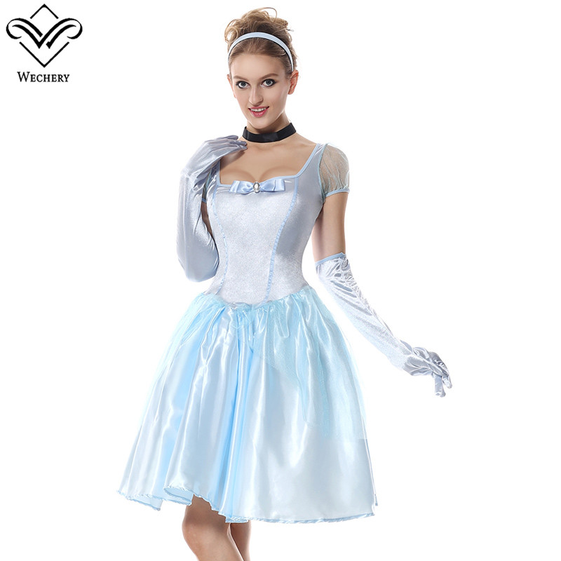 Wechery Princess Costume Fairy Tails Story Holiday Party Dress Up Clothes for Women Blue Smooth Short Sleeve Mini Dresses